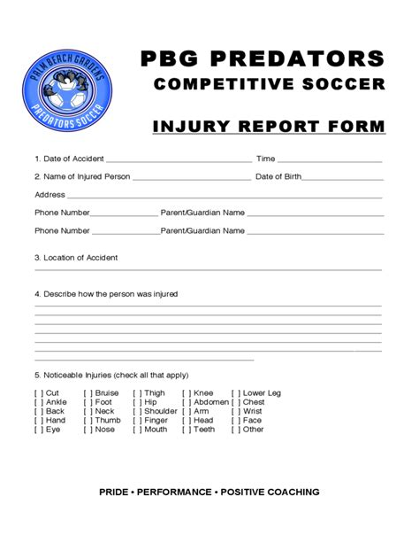 Injury Report Sle Form Free Download Form N Port Template
