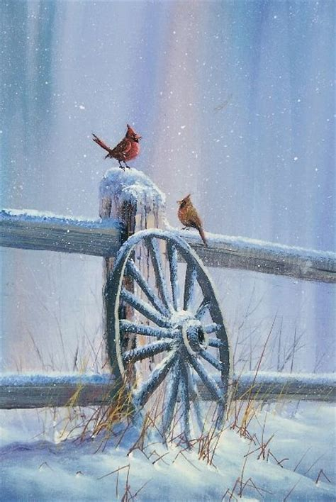 acrylic painting with jerry yarnell winter cardinals from jerry yarnell jerry yarnell