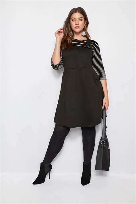 Napoclean Strong By Nry Fashion black button pinafore dress plus size 16 to 36