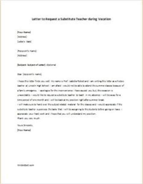 letter to request a substitute during vacation writeletter2
