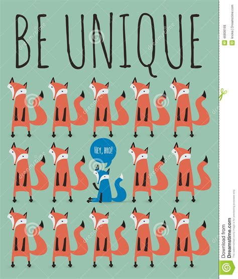 Be Unique card with foxes be unique stock vector image 46808168