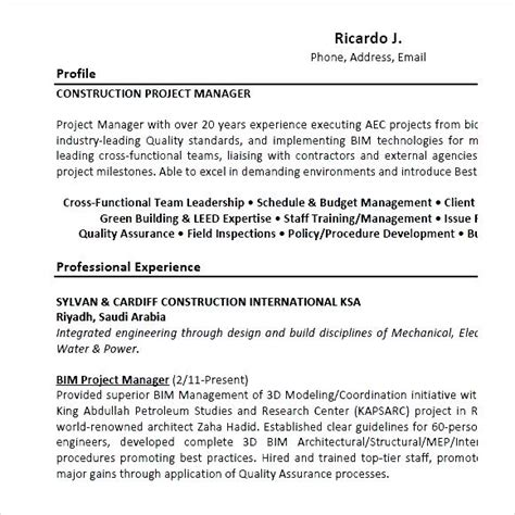 Project Manager Resume Pdf by Construction Project Manager Resume Sle Pdf Free