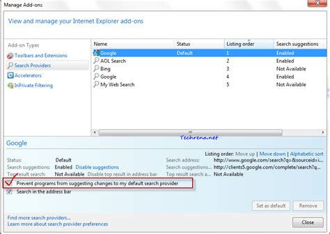 Search For Providers By Address Stop Or Prevent Programs From Changing Default Search Engine In Ie9 Techrena