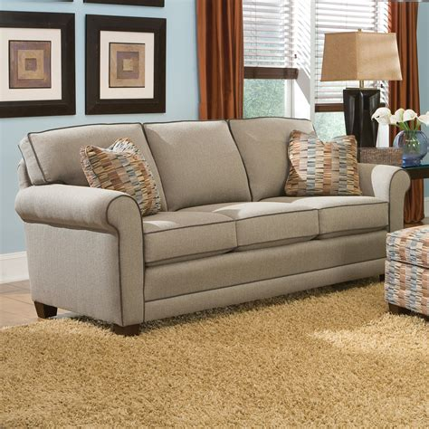 Smith Brothers Upholstery by Smith Brothers 366 Casual Stationary Sofa With Rolled Arms Darvin Furniture Sofas
