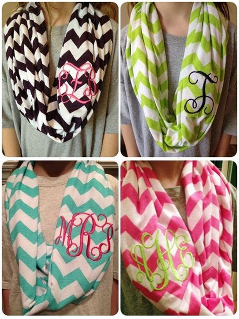 monogrammed infinity chevron scarf brown and white monogrammed chevron infinity scarf knit