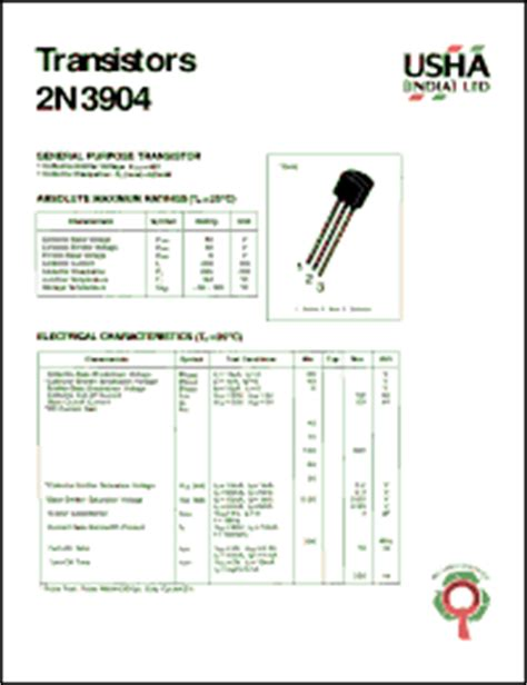 datasheet of transistor 2n3904 2n3904 datasheet general purpose transistor collector emitter voltage vceo 40v collector