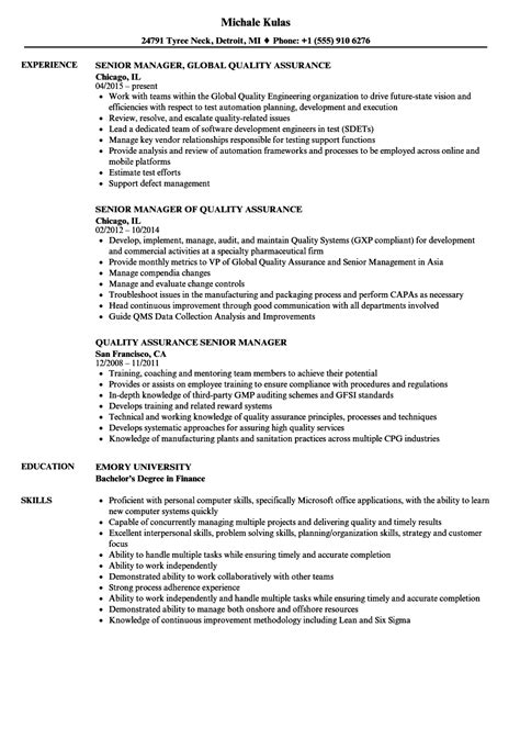 Quality Assurance Resume by Quality Assurance Senior Manager Resume Sles Velvet