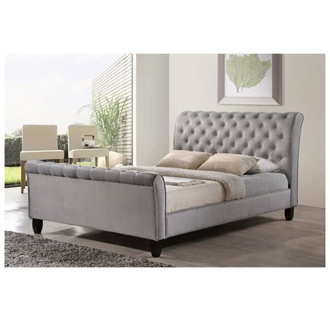 grey sleigh bed nspire samara queen sleigh bed grey disc 101 875q