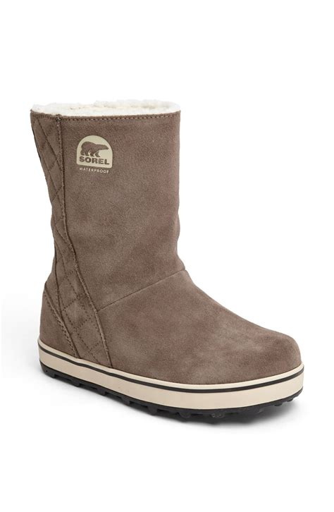 sorel glacy waterproof boot in beige saddle fossil lyst