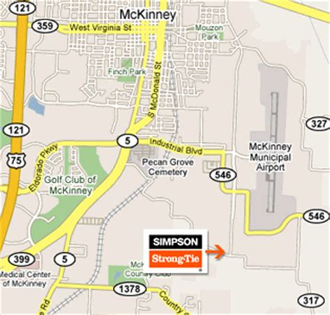 map of mckinney texas directions to strong tie s mckinney texas facility