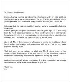 sle letters of recommendation for 12