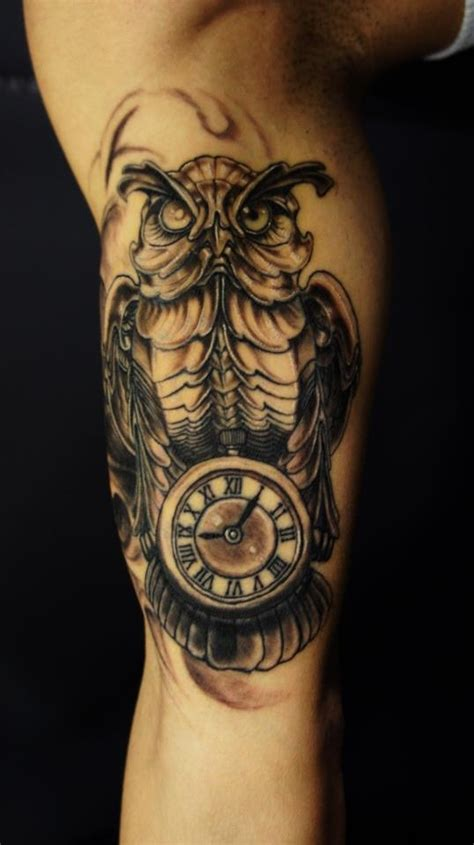 owl clock tattoo biomechanical owl clock tattooshunt