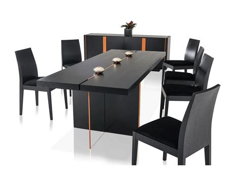 modern black oak floating dining table vg67 modern dining