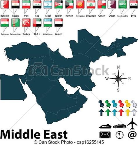 middle east map drawing eps vector of political map of middle east vector of