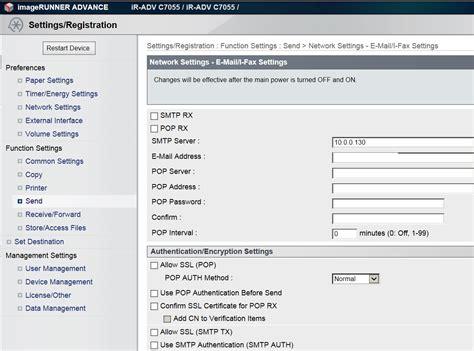 where to setup smtp server on canon imagerunner printer