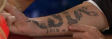 join or die tattoo join or die craig ferguson s