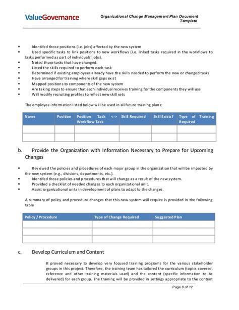 Pm002 02 Organizational Change Management Plan Culture Change Plan Template