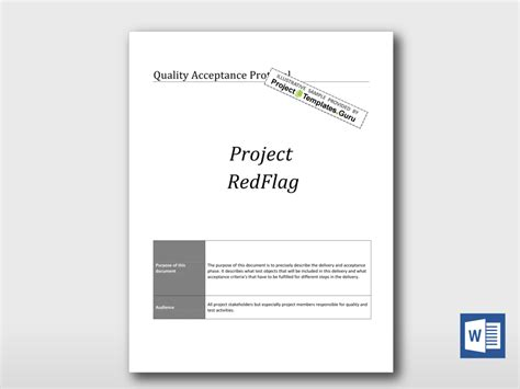 quality acceptance protocol project templates guru