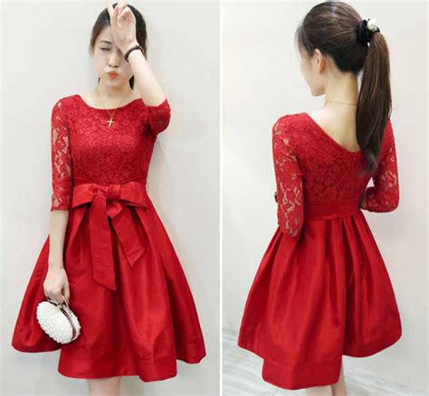Atasan Wanita Dress Merah Kombi Brukat dress brokat pesta kombinasi katun warna merah 275k