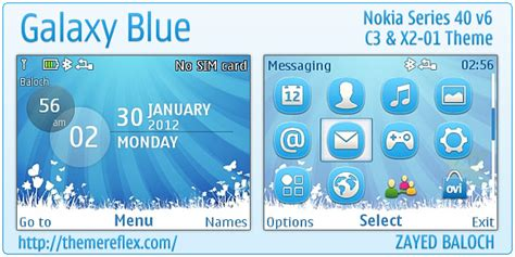 galaxy themes for nokia c3 galaxy blue theme for nokia c3 x2 01 asha 200 201