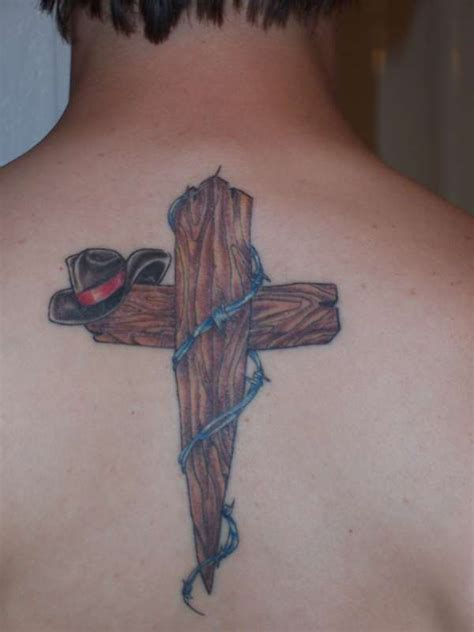 cowboy cross tattoos cowboy hat on wooden cross for tattooshunt