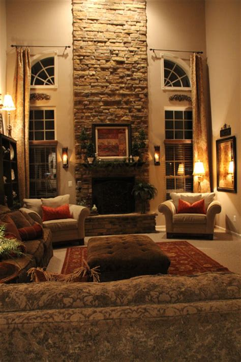 Two Story Living Room Decorating Ideas by Two Story Family Room Traditional Family Room Dc Metro