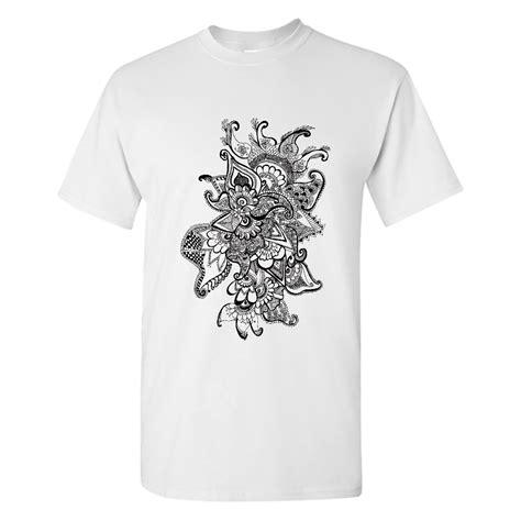 beautiful black mandala flower t shirt in india by