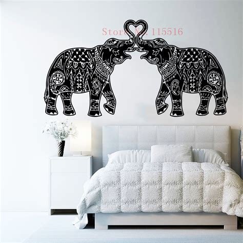 Elephant Room Decor E432 Wall Stickers Home Decor Diy Poster Decal Mural Vinyl Elephant Indian Namaste Om Mandala