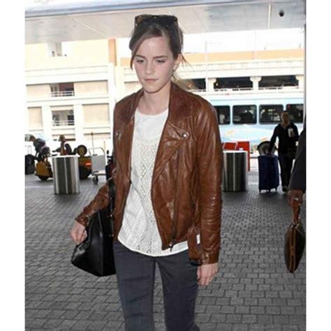 emma watson jacket fancy emma watson brown leather jacket