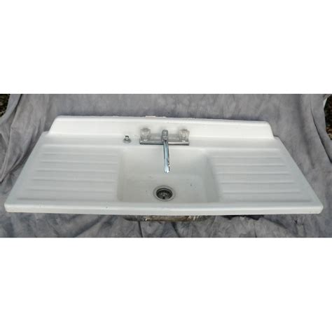 large antique drain board single bowl sink