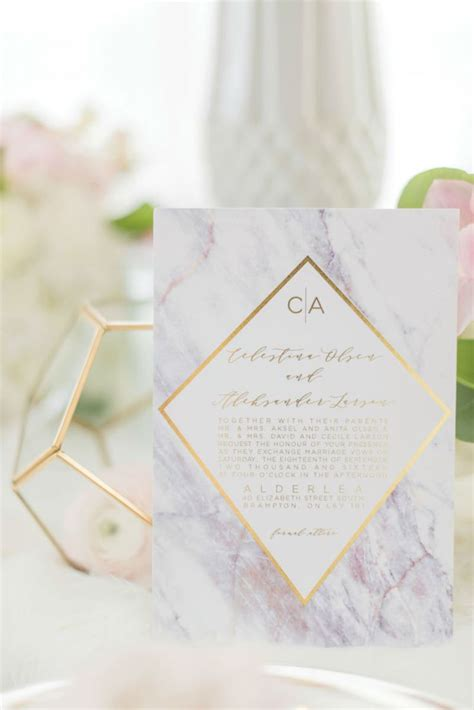 Wedding Invitations And Stationery by Purple Marble Wedding Invitations And Stationery With Gold