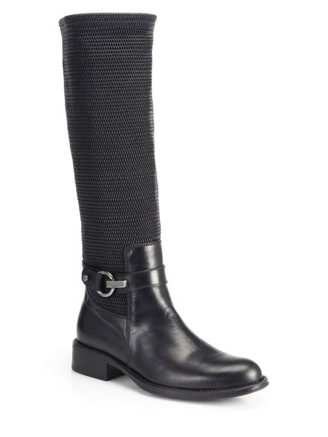woven boots lyst aquatalia urope knee high woven leather boots in black