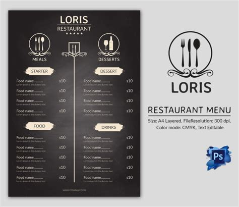menu template indesign free cafe menu template 40 free word pdf psd eps