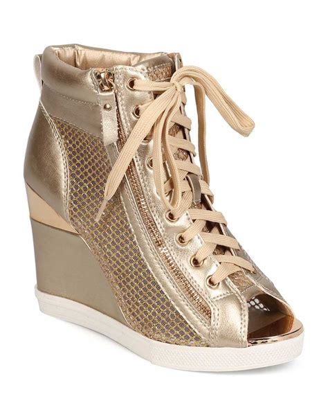 peep toe sneaker wedges new vigo fiore deluxe 1 metallic peep toe gold