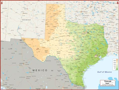physical texas map texas physical state map