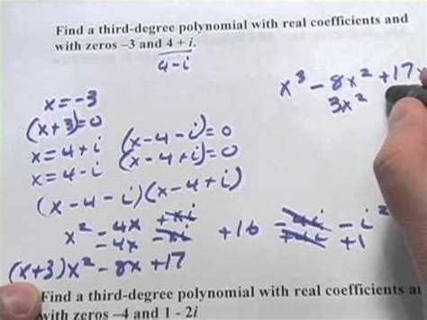 write polynomial functions given specific zeros