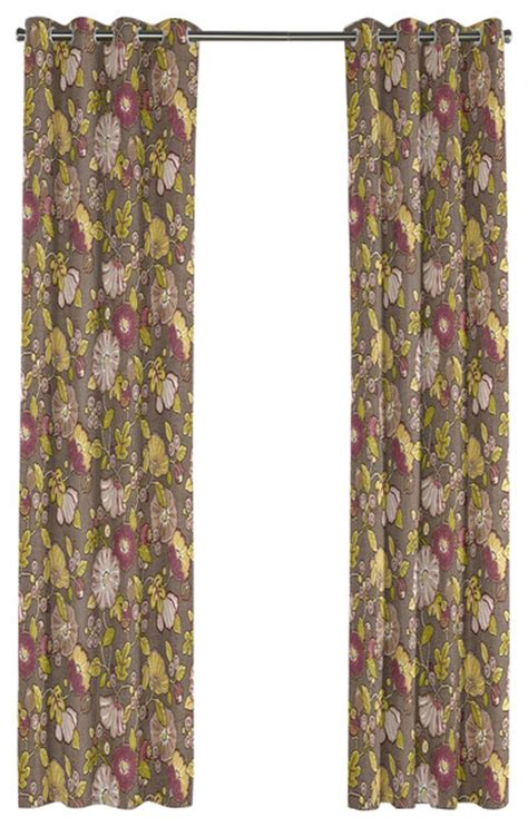 bold curtains bold lime and purple floral grommet curtain traditional