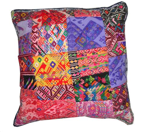 Patchwork Cushion Covers - coloured patchwork cushion cover mayan fair trade guatemala