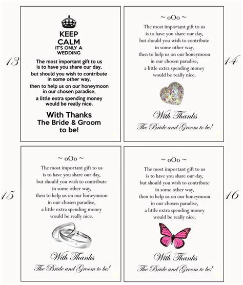 Wedding Gift Money Poem by 50 Poem Cards Or Honeymoon Money As Wedding Gift