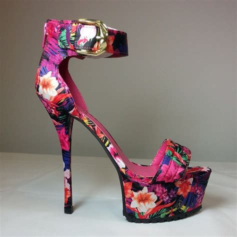 multicolor high heels shoes high heels floral platform high heels prom heels