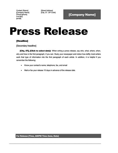 Free Press Release Template Word press release template word documents