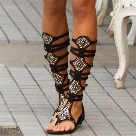 When Its Black Go For Something Embellished by Glorious Gladiator Sandals With Embellishments