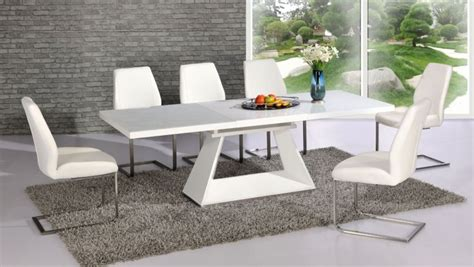 Contemporary White Dining Table And Chairs Silvano Extending White High Gloss Contemporary Dining Table Dalia White Dining Chairs