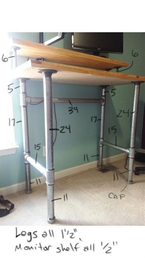Pipe And Plank Standing Desk Imgur Diy Doityourself Diy Pipe Desk