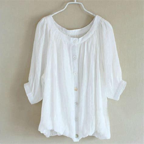 2015 new summer shirt white s linen plus size