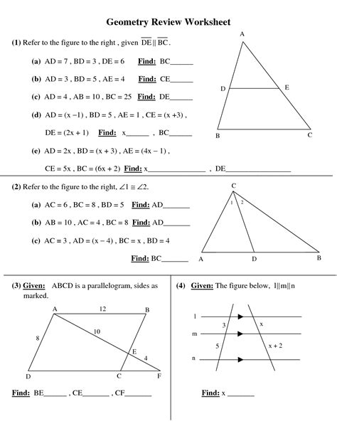 Math Worksheets High School by 7 Best Images Of 10th Grade Geometry Worksheets Printable