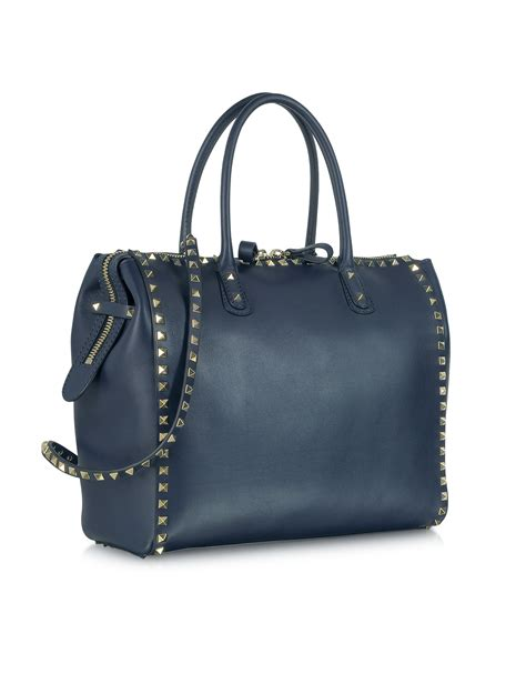 Navy Blue Leather by Lyst Valentino Rockstud Large Navy Blue Leather Satchel