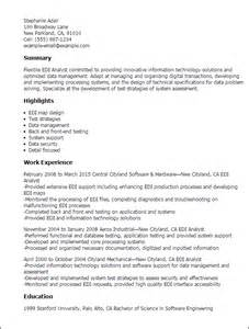 Edi Analyst Sle Resume by Professional Edi Analyst Templates To Showcase Your Talent Myperfectresume