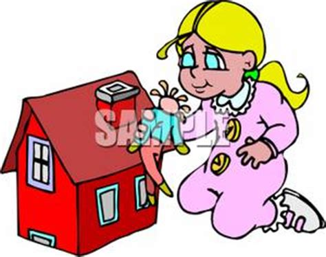 doll house cartoon a cartoon of a girl playing with a doll and her dollhouse royalty free clipart picture