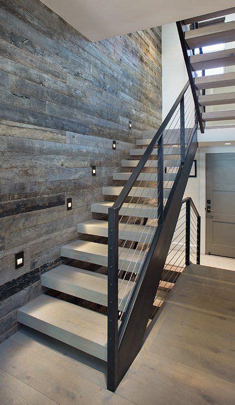modern home  staircase wood tread metal railing